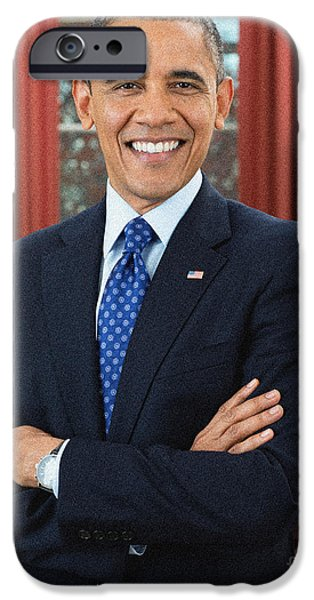 Obama iPhone Cases - Barack Obama iPhone Case by Celestial Images
