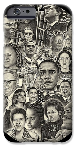 Recently Sold -  - Michelle Obama Drawings iPhone Cases - Barack Obama, Michelle Obama and family iPhone Case by Omoro Rahim