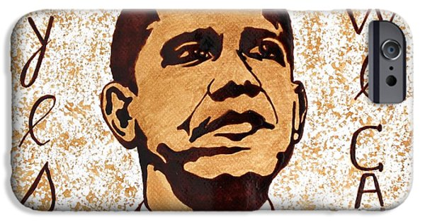 Barack Obama Paintings iPhone Cases - Barack Obama Words of Wisdom coffee painting iPhone Case by Georgeta  Blanaru