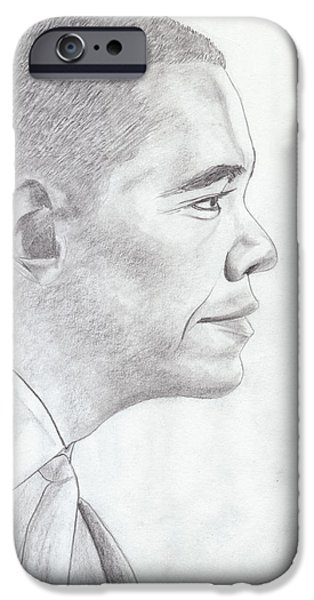 President Obama Drawings iPhone Cases - Barak Obama iPhone Case by Jose Valeriano