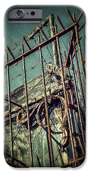 Mess iPhone Cases - Barbed Wire on Wall iPhone Case by Carlos Caetano