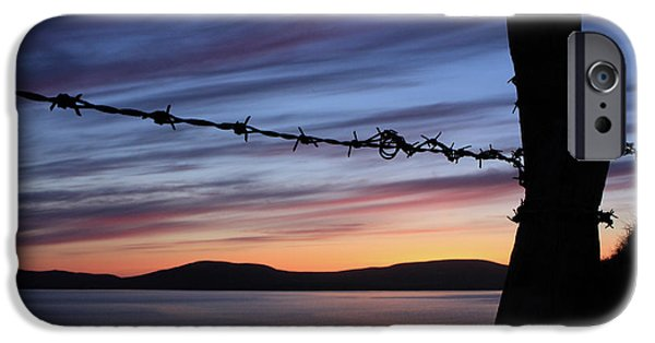 Sea iPhone Cases - Barbed Wire Sunset iPhone Case by Aidan Moran