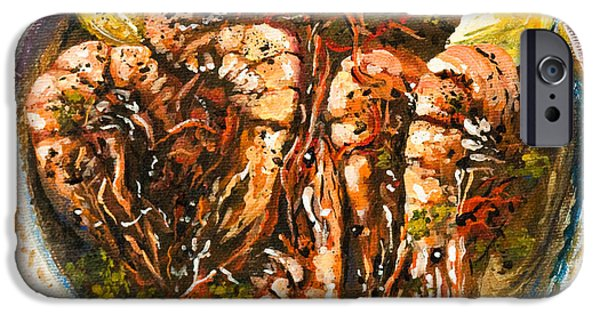 Kitchen iPhone Cases - Barbequed Shrimp iPhone Case by Dianne Parks