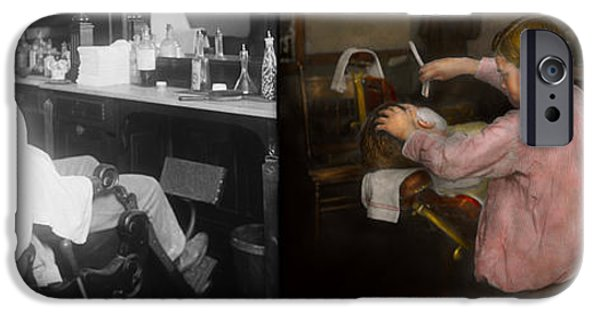 Child iPhone Cases - Barber - Shaving - Faith in a child - 1917 - Side by side iPhone Case by Mike Savad