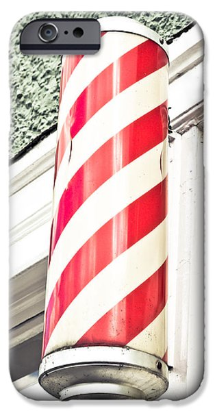 Stripes iPhone Cases - Barber shop iPhone Case by Tom Gowanlock