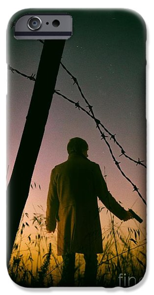 Detectives iPhone Cases - Barbwire Trespassing iPhone Case by Carlos Caetano