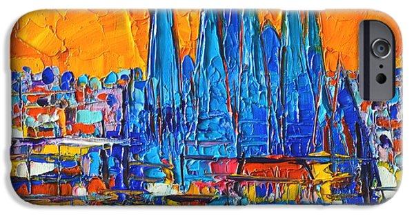 White House iPhone Cases - Barcelona Abstract Cityscape 7 - Sagrada Familia iPhone Case by Ana Maria Edulescu