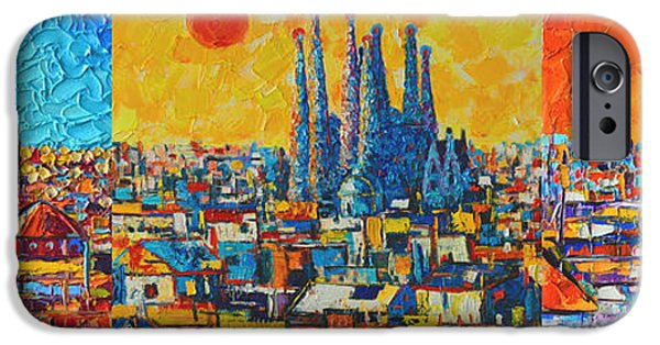 White House iPhone Cases - Barcelona Abstract Cityscape Triptych Gaudis Sagrada Familia iPhone Case by Ana Maria Edulescu