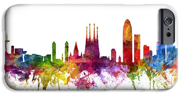 Down Town iPhone Cases - Barcelona Spain Cityscape 06 iPhone Case by Aged Pixel