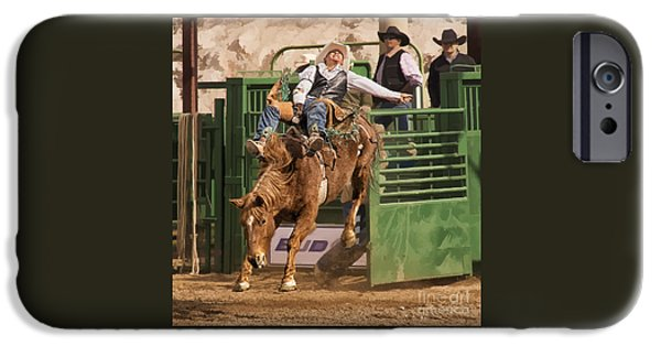 The Horse iPhone Cases - Bareback Riding at the Wickenburg Senior Pro Rodeo iPhone Case by Priscilla Burgers