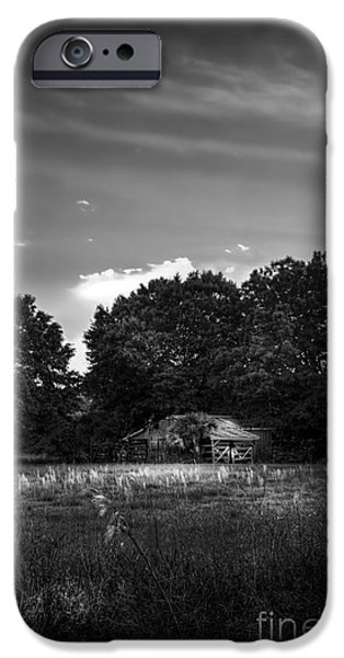 Winter Storm iPhone Cases - Barn And Palmetto-BW iPhone Case by Marvin Spates
