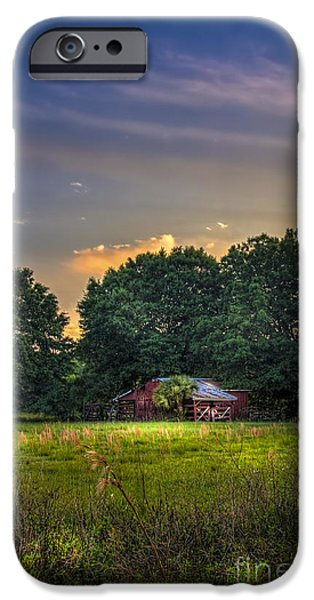 Dark Skies Photographs iPhone Cases - Barn and Palmetto iPhone Case by Marvin Spates
