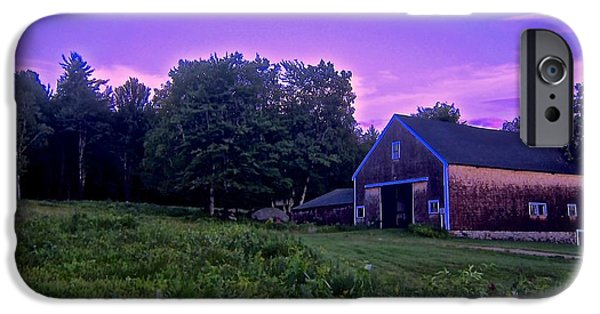 Field. Cloud iPhone Cases - Barn in Evening Light iPhone Case by Elizabeth Tillar