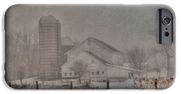 Illinois Barns iPhone Cases - Barn in fog iPhone Case by David Bearden