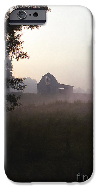 Old Barns iPhone Cases - Barn in Morning Fog iPhone Case by Lowell Anderson