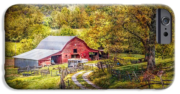 Old Barns iPhone Cases - Barn in the Valley iPhone Case by Debra and Dave Vanderlaan