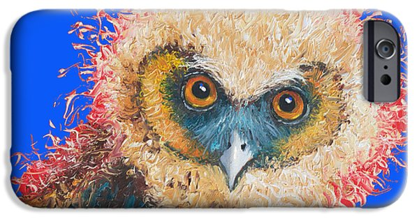 Baby Bird iPhone Cases - Barn Owl painting iPhone Case by Jan Matson