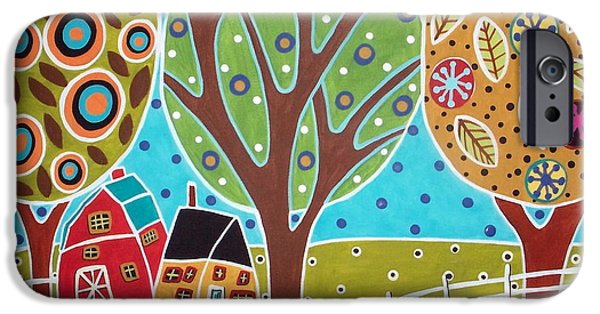 Circles iPhone Cases - Barn Trees And Garden iPhone Case by Karla Gerard