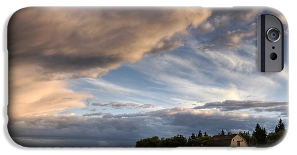 Summer Storm iPhone Cases - Barn Under Storm Clouds iPhone Case by Dan Jurak