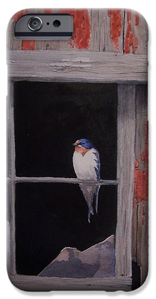 Barn Swallow Paintings iPhone Cases - Barn Window Barn Swallow iPhone Case by Kurt Plinke