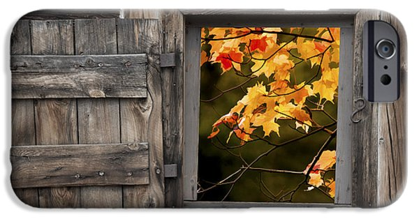 Fall iPhone Cases - Barn Window with Colorful Fall Leaves iPhone Case by Randall Nyhof