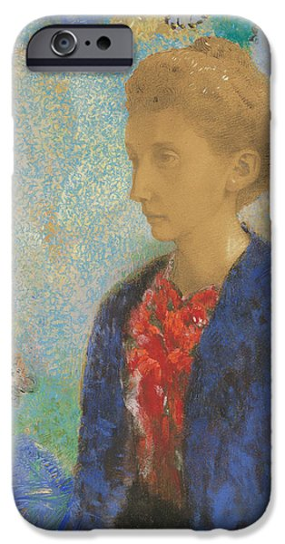19th Century Pastels iPhone Cases - Baronne de Domecy  iPhone Case by Odilon Redon