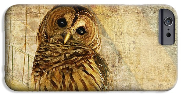 Looking Digital Art iPhone Cases - Barred Owl iPhone Case by Lois Bryan