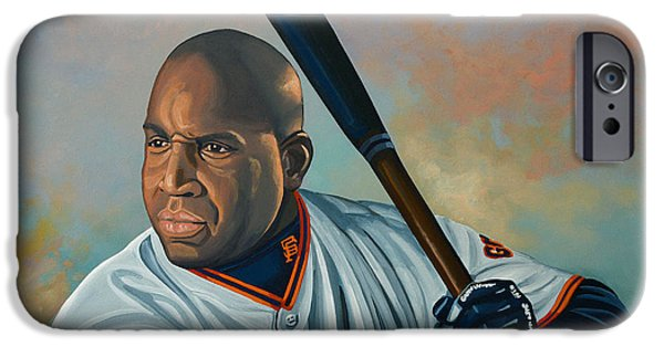 Pitcher iPhone Cases - Barry Bonds iPhone Case by Paul Meijering