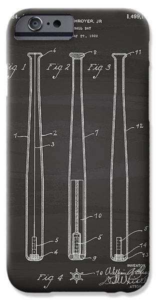 Baseball Glove iPhone Cases - Baseball Bat 1924 Patent Art - Chalkboard iPhone Case by Ray Tawer