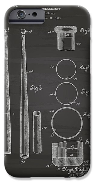 Baseball Glove iPhone Cases - Baseball Bat 1926 Patent Art - Chalkboard iPhone Case by Ray Tawer