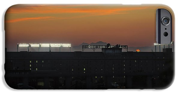 Baseball Stadiums iPhone Cases - Baseball Camden Yards Sunset iPhone Case by Marianne Campolongo