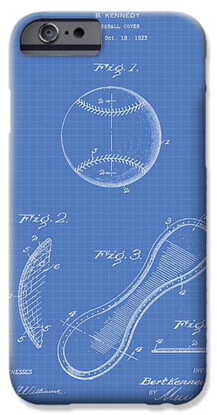 Baseball Glove iPhone Cases - Baseball Cover 1924 Patent Art - Blueprint iPhone Case by Ray Tawer