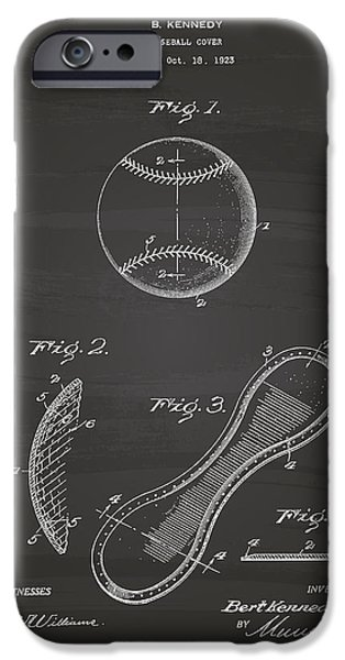 Baseball Glove iPhone Cases - Baseball Cover 1924 Patent Art - Chalkboard iPhone Case by Ray Tawer
