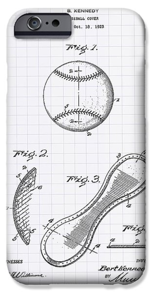 Baseball Glove iPhone Cases - Baseball Cover 1924 Patent Art - Lined Peper iPhone Case by Ray Tawer