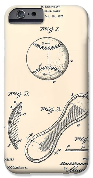 Baseball Glove iPhone Cases - Baseball Cover 1924 Patent Art - Old Peper iPhone Case by Ray Tawer