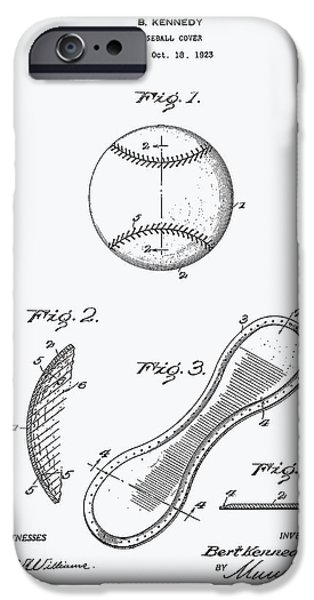 Baseball Glove iPhone Cases - Baseball Cover 1924 Patent Art - White Paper iPhone Case by Ray Tawer