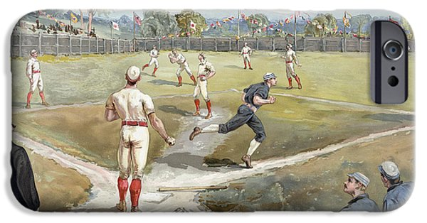 Baseball Uniform Drawings iPhone Cases - Baseball Game iPhone Case by Unknown