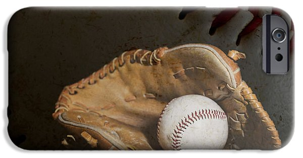 Baseball Glove iPhone Cases - Baseball Glove and Ball with Ball Background iPhone Case by Erin Cadigan