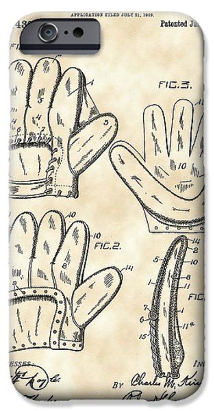 Baseball Glove iPhone Cases - Baseball Glove Patent 1909 - Vintage iPhone Case by Stephen Younts