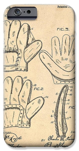 Baseball Glove iPhone Cases - Baseball Glove Patent 1910 iPhone Case by Digital Reproductions