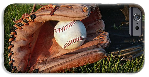 Baseball iPhone Cases - Baseball Gloves After the Game iPhone Case by Anna Lisa Yoder