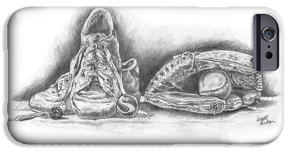 Baseball Glove Drawings iPhone Cases - Baseball Gloves and Shoes iPhone Case by Scott Parker