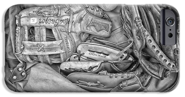Baseball Glove iPhone Cases - Baseball Gloves BW iPhone Case by Thomas Woolworth
