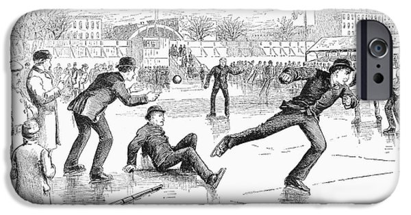 1884 iPhone Cases - Baseball On Ice, 1884 iPhone Case by Granger