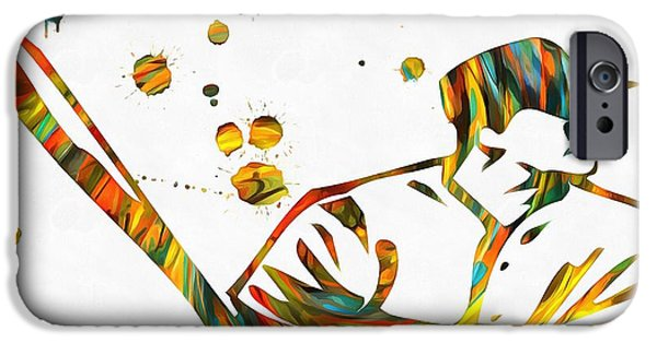 Bat iPhone Cases - Baseball Player Paint Splatter iPhone Case by Dan Sproul
