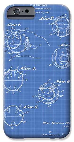 Baseball Glove iPhone Cases - Baseball training device 1963 Patent Art - Blueprint iPhone Case by Ray Tawer