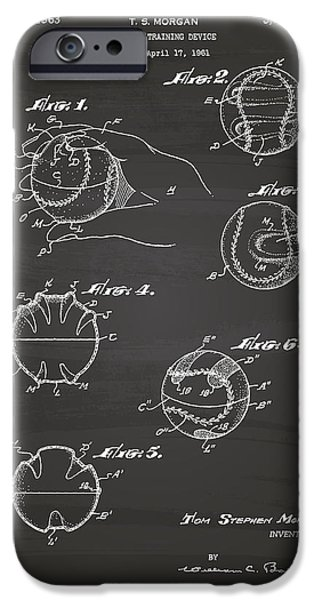 Baseball Glove iPhone Cases - Baseball training device 1963 Patent Art - Chalkboard iPhone Case by Ray Tawer