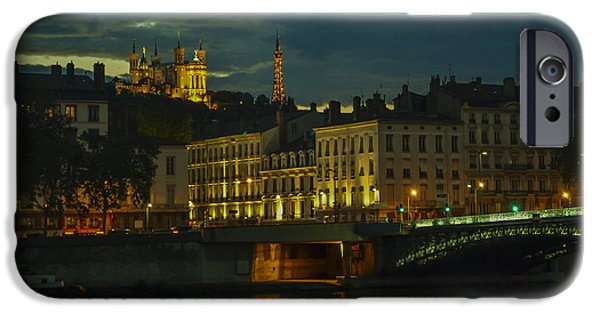 Lumiere University iPhone Cases - Basilica Notre Dame de Fourviere from across the Rhone River iPhone Case by Allen Sheffield