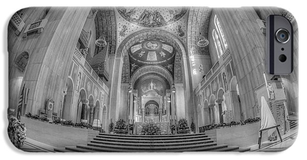 Christ In Majesty iPhone Cases - Basilica of the National Shrine Main Altar BW iPhone Case by Susan Candelario