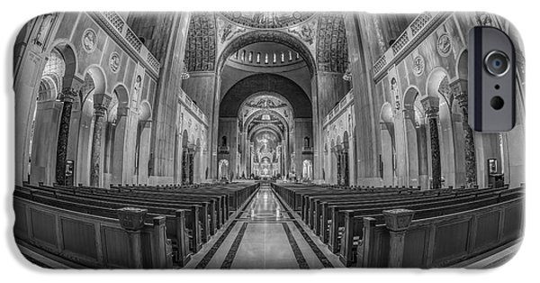Christ In Majesty iPhone Cases - Basilica of the National Shrine of the Immaculate Conception BW iPhone Case by Susan Candelario